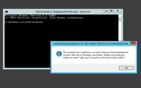dcpromo.exe hat unter Windows Server 2012 R2 ausgedient.