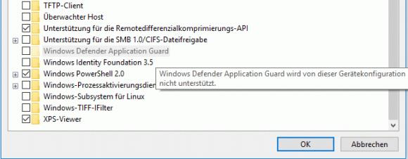 In einer verschachtelten VM lässt sich Windows Defender Application Guard nicht installieren.