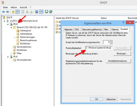 Standardmäßig speichert der DHCP-Server seine Logs unter %SystemRoot%\system32\dhcp