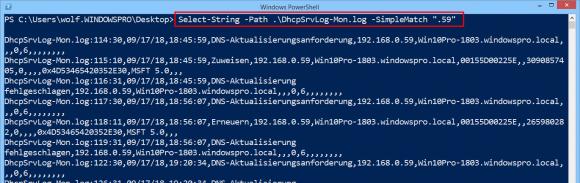 Das Filtern der Logs mit Select-String führt zu unübersichtlichen Ergebnissen.