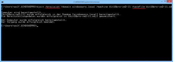 Zuerst legt man das Computer-Konto im AD an und speichert die Daten für den Beitritt in einer Datei.