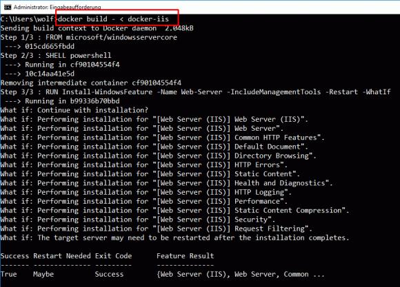 Installation von Rollen und Features mittels dockerfile