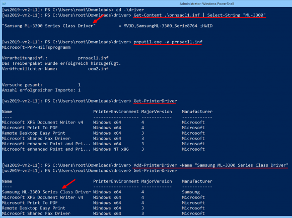 Copy the printer driver to the store and add it with PowerShell