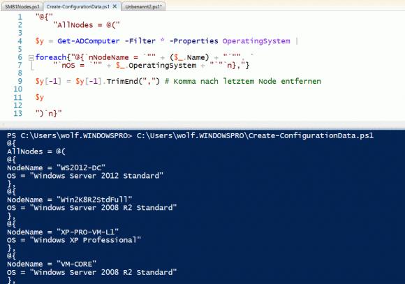 ConfigurationData per Script aus dem Active Directory erzeugen