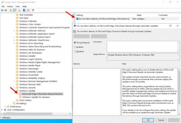 Das Blocker Toolkit enthält eine administrative Vorlage für GPOs, um die Installation von Edge Chromium zu verhindern.