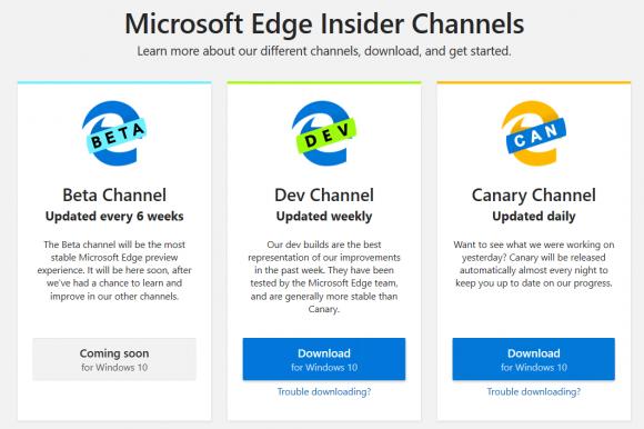 Vorab-Versionen von Edge Chromium erscheinen in drei Channels