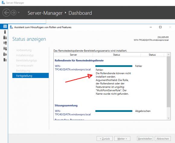 Der Versuch, MultiPoint auf Server 2016 Essentials zu installieren, schlägt fehl.