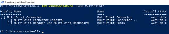 Get-WindowsFeature zeigt, dass MultiPoint auf Server Essentials nicht verfügbar ist.