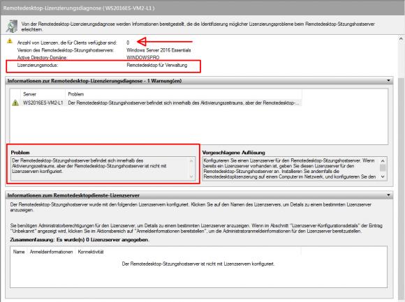 Die Lizenzdiagnose zeigt, dass der konfigurierte Lizenz-Server ignoriert wird.