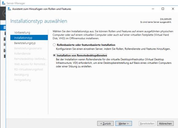 Der Server Manager bietet wie bei den großen Editionen die Installation der Remote Desktop Services an.