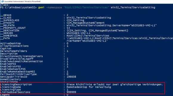Die WMI-Abfrage zeigt, dass Server Essentials nur zwei Remote-Sessions zulässt.