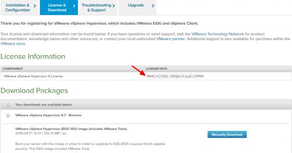 Download von VMware Hypervisor 6.7, Auslesen des Lizenzschlüssels