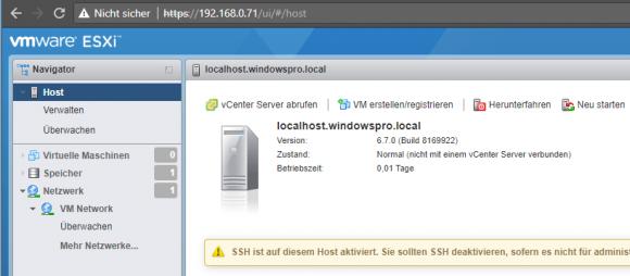 Die Verwaltung von ESXi 6.7 Free erfolgt über den integrierten Host-Client