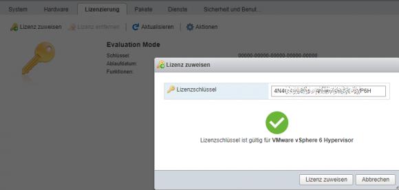 Zuweisen des Lizenzschlüssels im Host-Client: ESXi 6.7 Free akzeptiert auch Keys älterer Versionen.