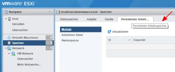 ESXi 6.7 Free unterstützt ebenfalls PMEM, die Verwaltung erfolgt über den Host Client