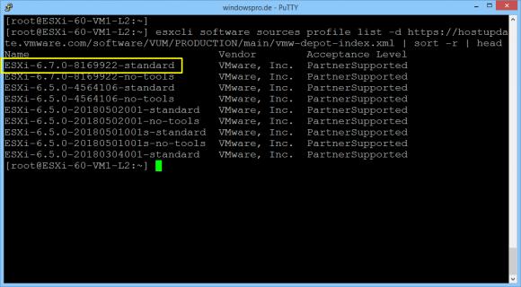 Profile für das ESXi-Update aus dem Online-Depot abrufen