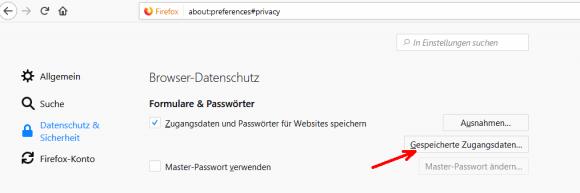 Der Abschnitt für gespeicherte Passwörter in den Einstellungen von Firefox.