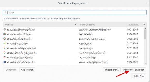 Liste der gespeicherten Passwörter in Firefox. Sie lässt sich ebenfalls durchsuchen.