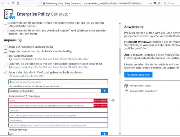 Der Enterprise Policy Generator vereinfacht das Erstellen einer JSON-basierten Konfiguration für Firefox.