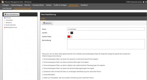 Anwender können die vorgegebenen Klassifizierungen um ihre eigenen ergänzen.