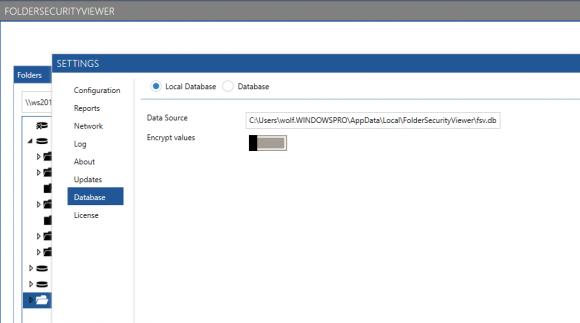Konfiguration der Datenbank zum Speichern von Reports