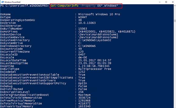 Get-ComputerInfo liefert eine Vielzahl von Informationen zum Betriebssystem.