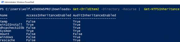 Status der Vererbung für Unterverzeichnisse anzeigen mit Get-NTFSInheritance
