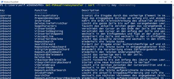 Viele Funktionen von PSReadline sind noch nicht mit einer Tastenkombination belegt.