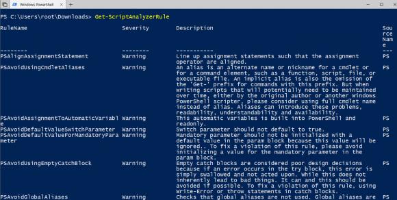 Anzeigen der Standardregeln für ScriptAnalyzer mit Hilfe von Get-ScriptAnalyzerRule.