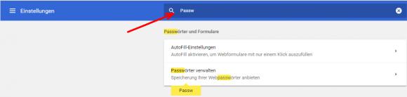 Suche nach dem Abschnitt 'Passwörter verwalten' in Google Chrome