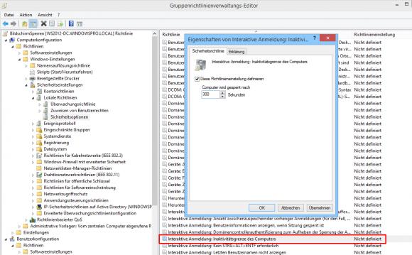 Ab Windows 8.1 reicht eine Einstellung, um einen inaktiven PC automatisch zu sperren.