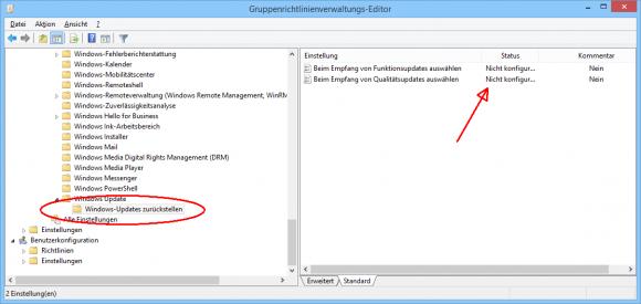 Die Einstellungen für das Zurückstellen von Updates sollen nicht zusammen mit WSUS konfiguriert werden.