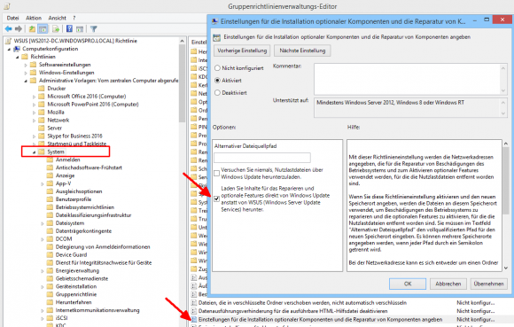 Zugriff für WSUS-Clients auf Windows Update erlauben mit Hilfe einer Gruppenrichtlinie.