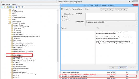 Mit dieser Einstellung lässt sich verhindern, dass Benutzer die Proxy-Konfiguration verändern.