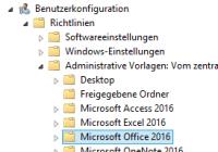 ADMX-Vorlagen für Office 2016 und 2019