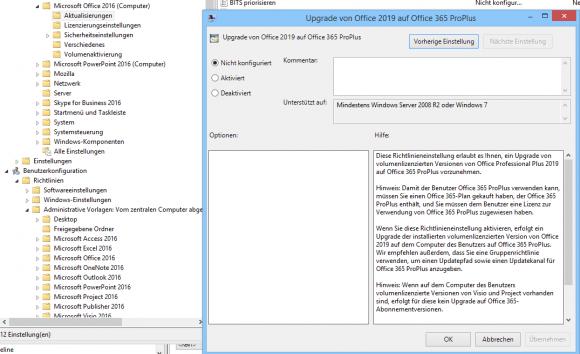 Eine neue Einstellung erlaubt es, Office 2019 ProPlus auf Office 365 ProPlus umzustellen.