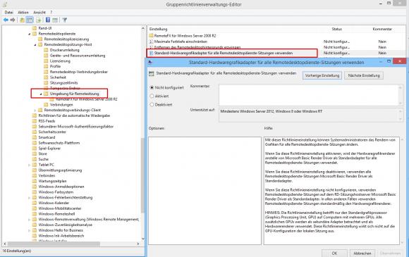 Ein Terminal-Server kann GPUs nur nach Aktivierung einer Gruppenrichtlinie nutzen.