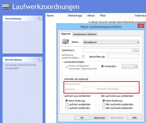 Benutzernamen und Passwörter können aus Sicherheitsgründen nicht mehr hinterlegt werden.