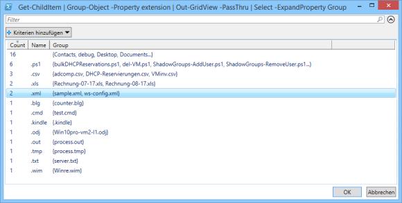 Gruppierte Daten in Out-GridView anzeigen und an select-object weiterleiten