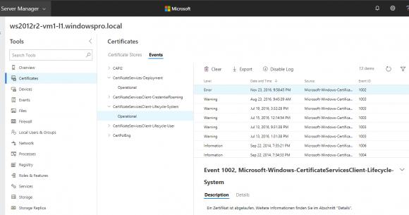 Der Abschnitt für Zertifikate zeigt auch die dazugehörigen Einträge im Eventlog an.