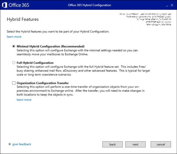Der Hybrid Configuration Wizard kann nun einige Einstellungen von On-Prem-Exchange nach Office 365 übertragen.