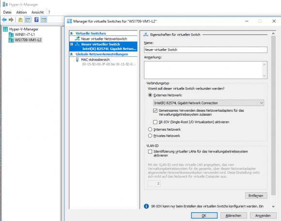 Das Cmdlet New-VMSwitch deckt alle Optionen ab, die der Manager für virtuelle Switches bietet.