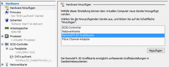 RemoteFX-3D-Grafikkarte für VM hinzufügen
