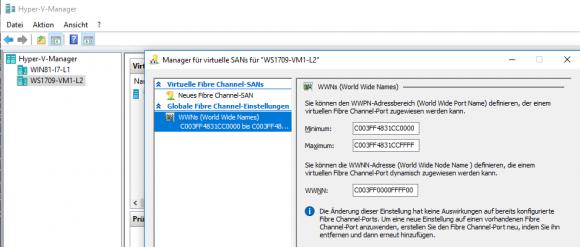 Die Pendants zu FibreChannelWwnn, FibreChannelWwpnMaximum und FibreChannelWwpnMinimum findet man im Manager für virtuelle SANs.