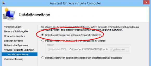 Betriebssystem für die VM später installieren