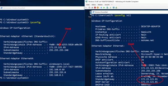 Der Host dient als Standard-Gateway und als DHCP-Server