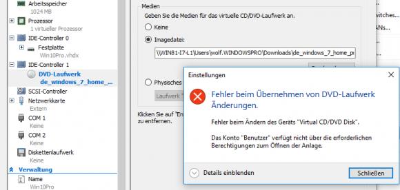 Die notorische Fehlermeldung, wenn eine ISO auf einer Netzfreigabe verbunden werden soll.