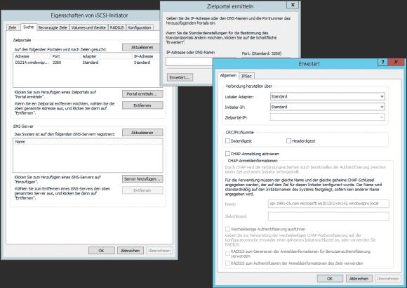 Über die erweiterten Einstellungen lassen sich die CHAP-Authentifizierung und IPSec konfigurieren.