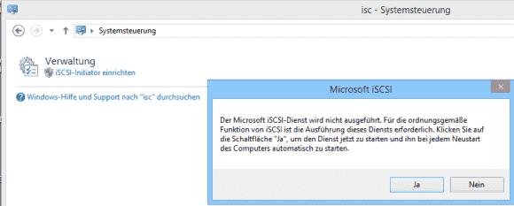 Die Konfiguration des Initiators erfolgt über ein Applet in der Systemsteuerung.