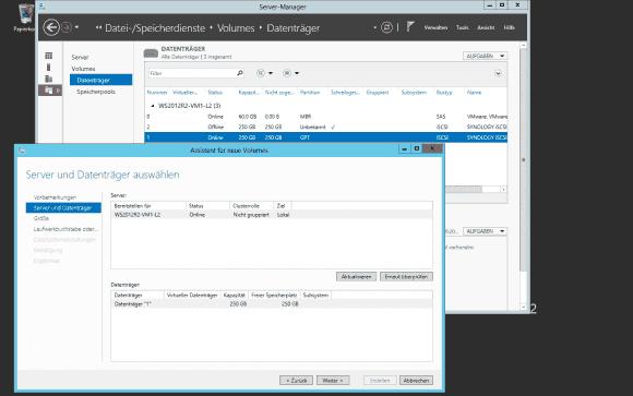 Der Wizard zum Anlegen von Volumes und Dateisystemen hilft bei der Bereitstellung von iSCSI-Datenträgern.